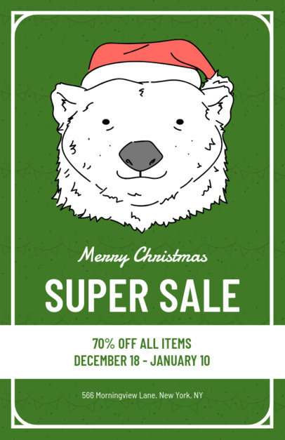 Holiday Flyer Template with Polar Bear Graphics 857d