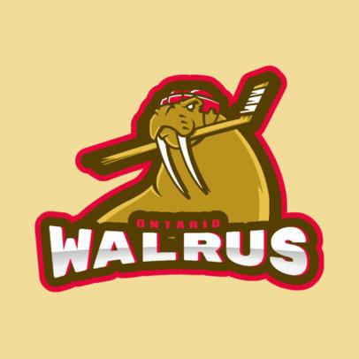 Hockey Logo Creator with a Hockey Walrus Mascot Illustration 1560b
