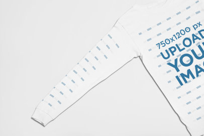Studio Long Sleeve Tee Mockup Featuring a Flat Lay 23861