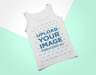 Mockup of a Heathered Tank Top Lying on a Flat Surface 24232