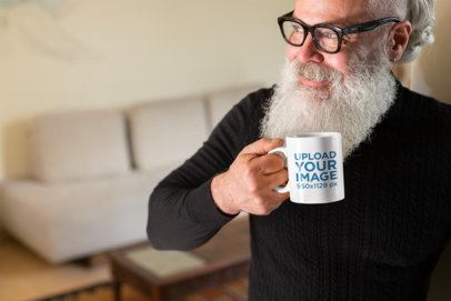Coffee Mug Mockup Featuring a Hipster Man with a Big Beard 23989