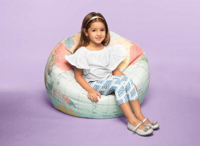 Leggings Mockup of a Little Girl Sitting on a Bean Bag Chair 23910