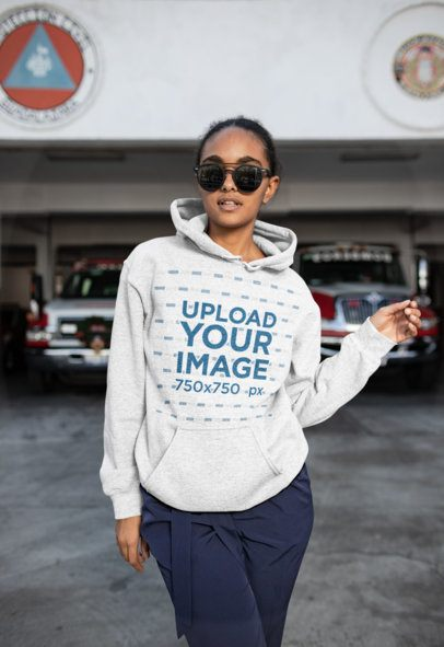 Heather Hoodie Mockup of a Cool Girl at a Parking Lot 24311