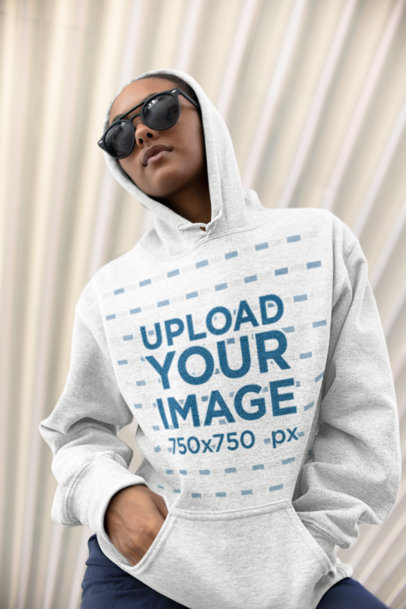 Mockup of a Girl Wearing a Hoodie with an Urban Style 24305