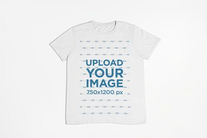 Flat Lay T-Shirt Mockup on a Single-Color Surface 23846