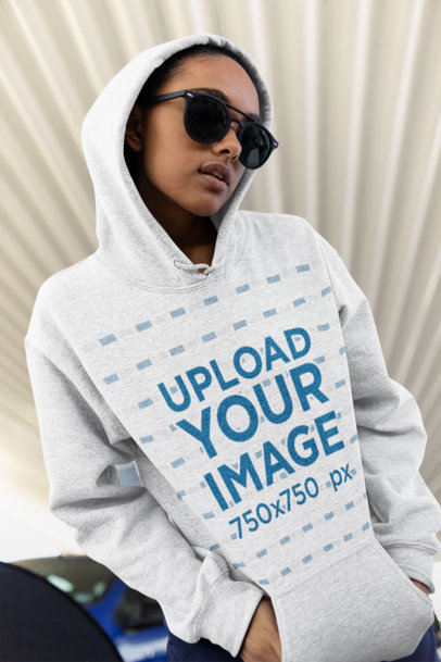 Mockup of a Girl Wearing a Heather Hoodie at a Parking Lot 24304