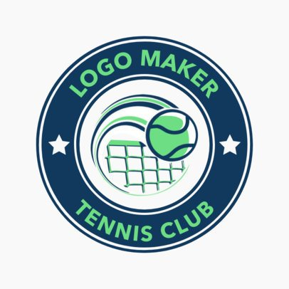 Tennis Logo Maker for a Tennis Club with a Ball going over a Net Icon 1641