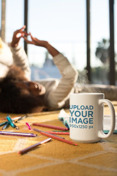 Hot Chocolate Mug Mockup Featuring a Girl and Color Pencils 24011