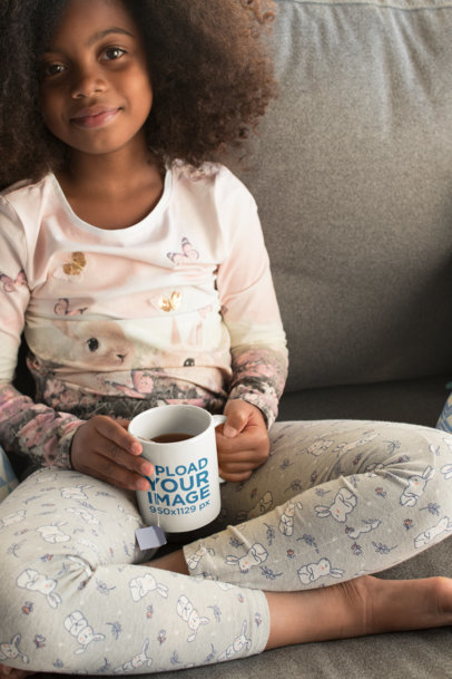 Ceramic Mug Mockup of a Cute Little Girl with an Afro 24013