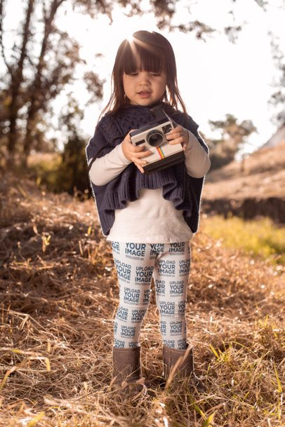 Leggings Mockup of a Little Girl Holding a Polaroid at the Woods 23938