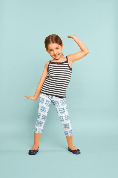 Leggings Mockup Featuring a Little Girl Dancing at a Studio 23922