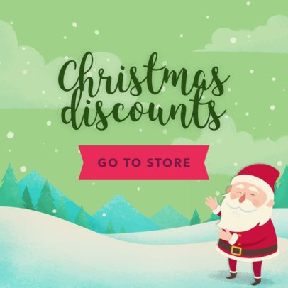 Online Banner Maker for Christmas Discounts with a Santa Clipart 783e