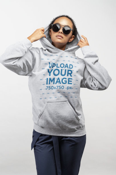 Heather Hoodie Mockup of a Girl with Trendy Glasses 24294