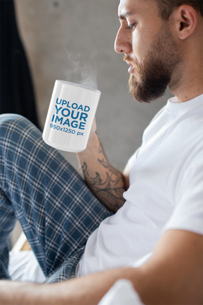 Mug Mockup Featuring a Man Drinking Coffee in His Pajamas 24014