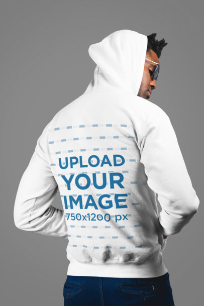 Mockup of a Man Wearing a Hoodie in Back View 24334