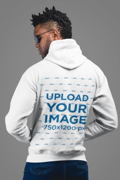 Back View Mockup of a Man Wearing a Hoodie and Sunglasses 24333