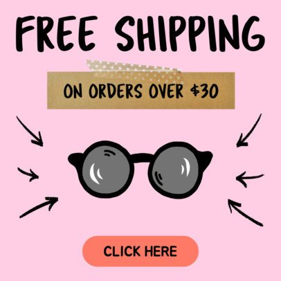 Banner Maker to Design a Free Shipping Banner Ad for Eyewear 536f