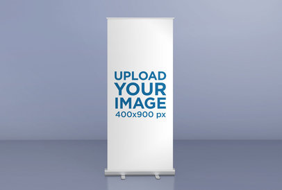 Roll-Up Banner Mockup Featuring a Room with a Single Color 24510