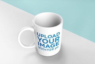Mockup of a Coffee Mug Standing over a Surface with Two Colors 24493