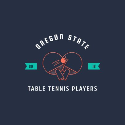 Table Tennis Logo Design Template with Two Ping-Pong Rackets Illustration 1626b