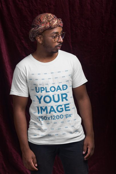 T-Shirt Mockup of a Man with a Turban 21053
