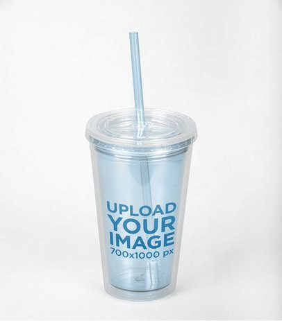 Mockup of a Tumbler with a Straw on a Solid Surface 24442