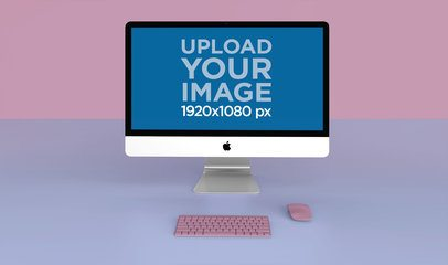 Mockup of an iMac Standing on a Solid Bicolor Background 24777