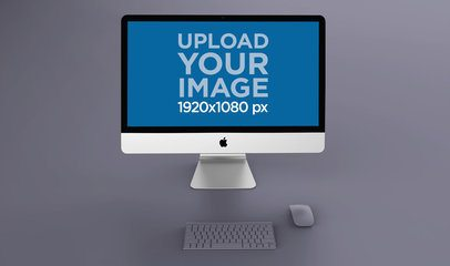Rendered Mockup Featuring an iMac on a Solid Color Surface 24784