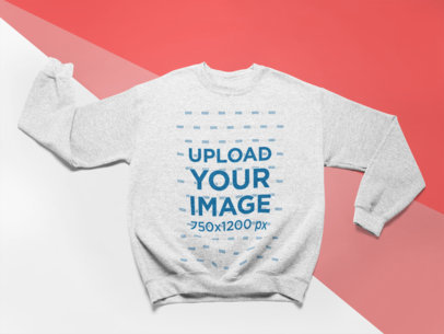 Mockup of a Crewneck Sweatshirt Lying Over a Surface with Three Colors 24573