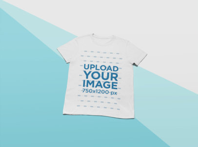 Mockup of a T-Shirt Lying on a Flat Multicolor Surface 24580
