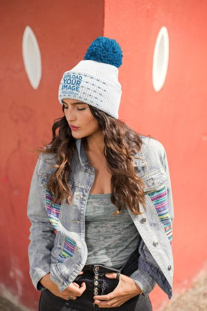 Beanie Mockup Featuring a Beautiful Pensive Woman 24618