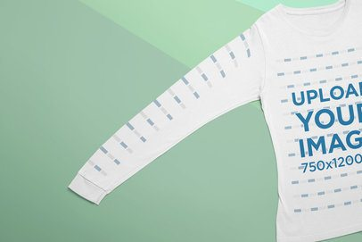 Closeup Mockup of a Long Sleeve Tee over a Tricolor Surface 24550