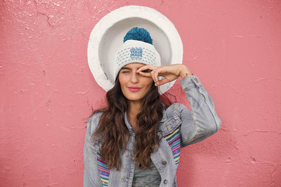 Mockup of a Woman Wearing a Beanie and a Colorful Denim Jacket 24621