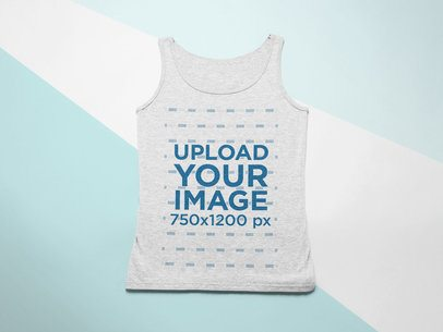 Flat Lay Mockup of a Heathered Tank Top on a Surface with Three Colors 24585