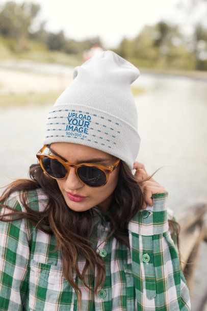 Beanie Mockup of a Cool Young Woman Wearing Sunglasses 24623