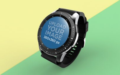 Mockup of a Smartwatch Floating Over A Solid Surface 25031