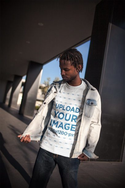Mockup of a Cool Man with Locs Wearing a Tee and a Jean Jacket 20051