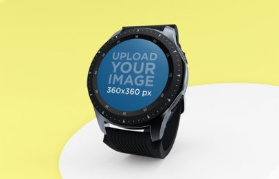 Mockup of a Smartwatch Standing Over a Table 25033