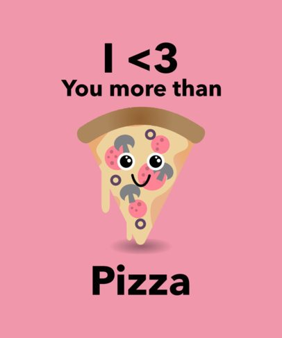 Valentine's Day T-Shirt Design Maker with Cute Food Clipart 1037