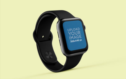 Mockup of an Apple Watch Standing on a Flat Surface 25068