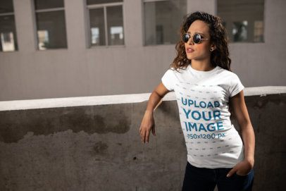Urban Mockup of a Girl Wearing a T-Shirt and Sunglasses 24654