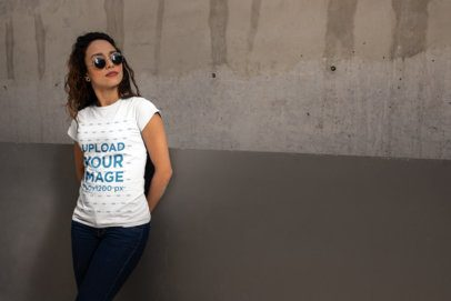 T-Shirt Mockup of a Woman Wearing Sunglasses and a Casual Outfit 24655