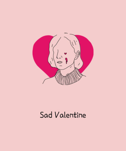 Valentine's Day T-Shirt Maker for a Sad Valentine's Day with Minimal Illustration 1038a