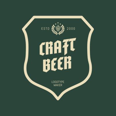 Craft Beer Logo Design Maker with Classic Frame 1658b