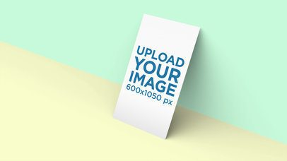 Business Card Mockup Standing Against a Two-Color Background 25044