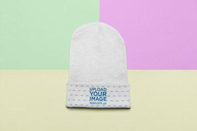 Flat Lay Beanie Mockup over a Custom Tricolor Surface 24775