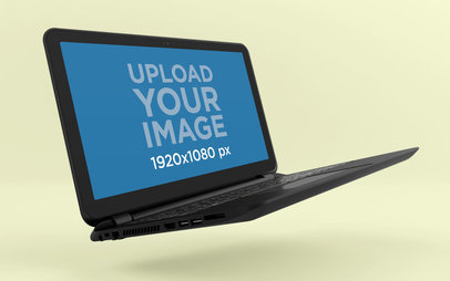 Mockup of a Laptop Floating Angled over a Solid Colored Room 25058