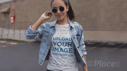 T-Shirt Video with Parallax Effect of a Trendy Girl at a Parking Lot 25304
