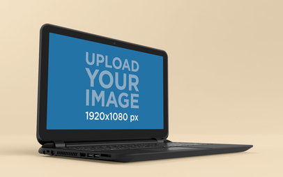 Mockup of a Black Laptop Standing on a Solid Color Room 25060