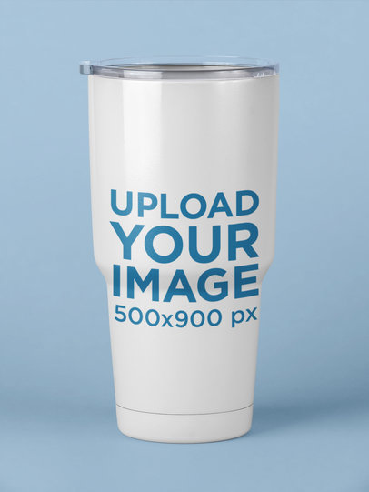Travel Mug Mockup with a Solid Color Surface 24409